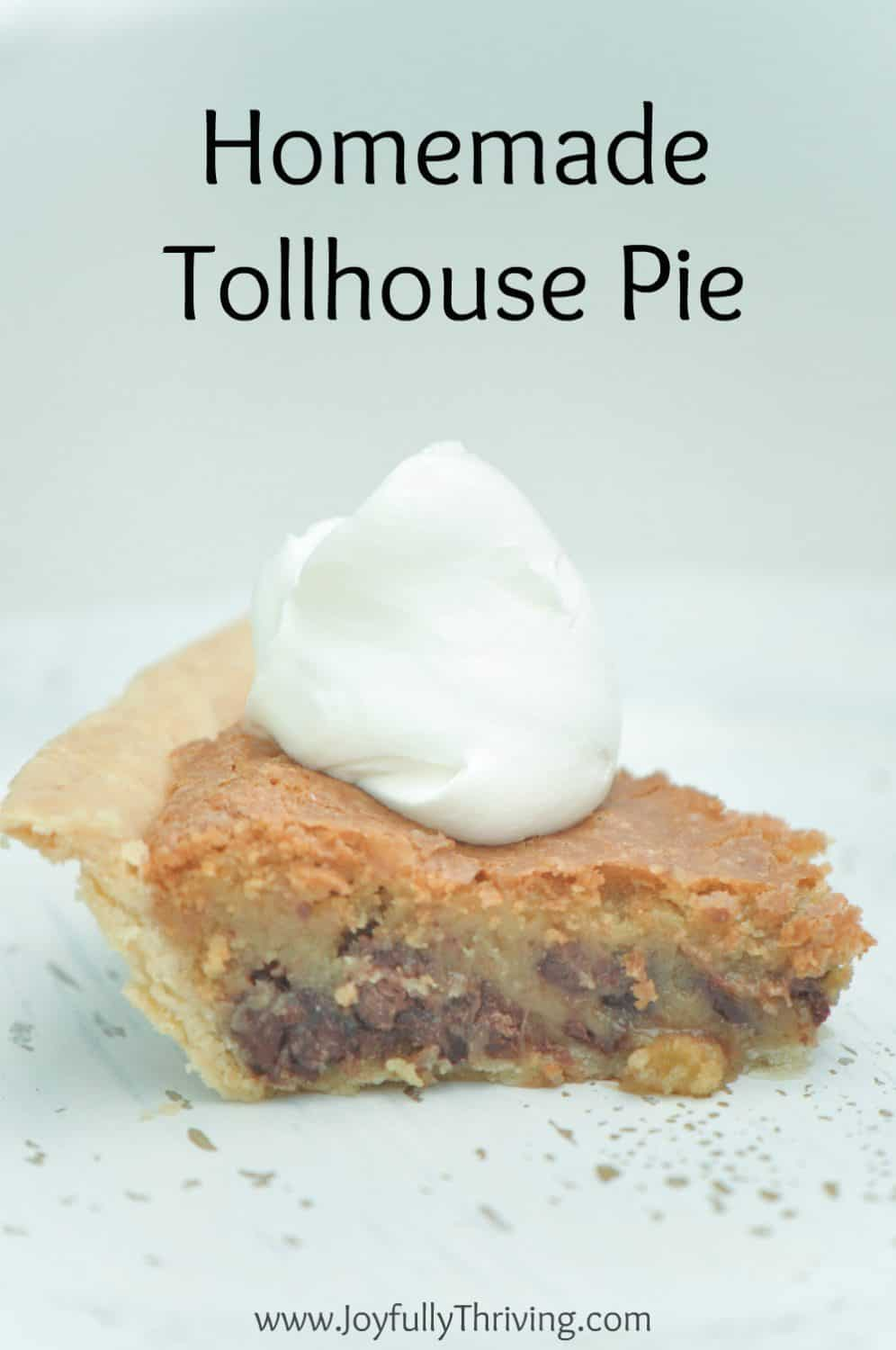 This homemade tollhouse pie recipe is absolutely delicious! It tastes just like chocolate chip cookies. I love a pie you can freeze, too.