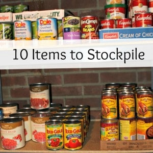 Here's a list of items that anyone can stockpile to save money! This is a great place to start saving on your grocery bill Square