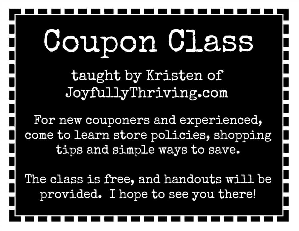 Coupon Class Announcement