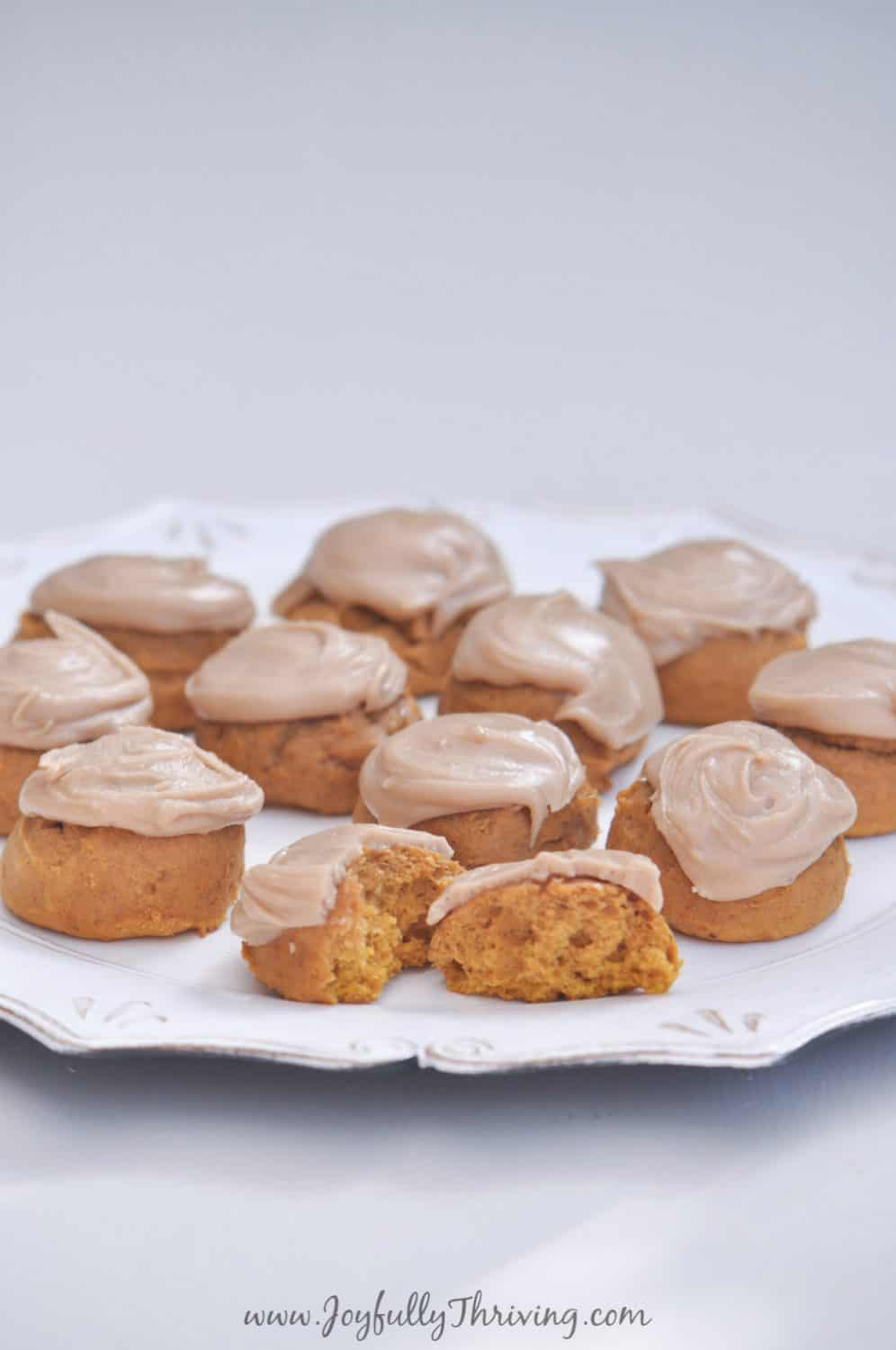 These bite sized frosted pumpkin cookies are my favorite fall treat. The perfect fall treat! #allthingspumpkin