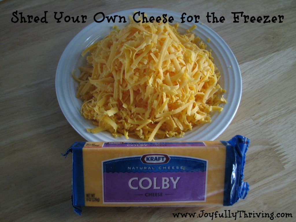 Shred your own cheese for the freezer to save time and money - Quick freezer tip