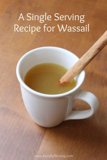 Love drinking wassail but don't want to make a big batch? Try this recipe for an individual cup of wassail. So good!