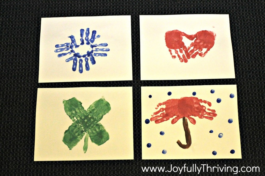 Handprint Calendar Pictures - January, February, March & April - Great preschool parent gift idea!