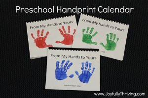 Preschool Handprint Calendar - My favorite gift for preschoolers to give their parents! Here are a year's worth of ideas for your preschoolers to create this priceless gift - Joyfully Thriving