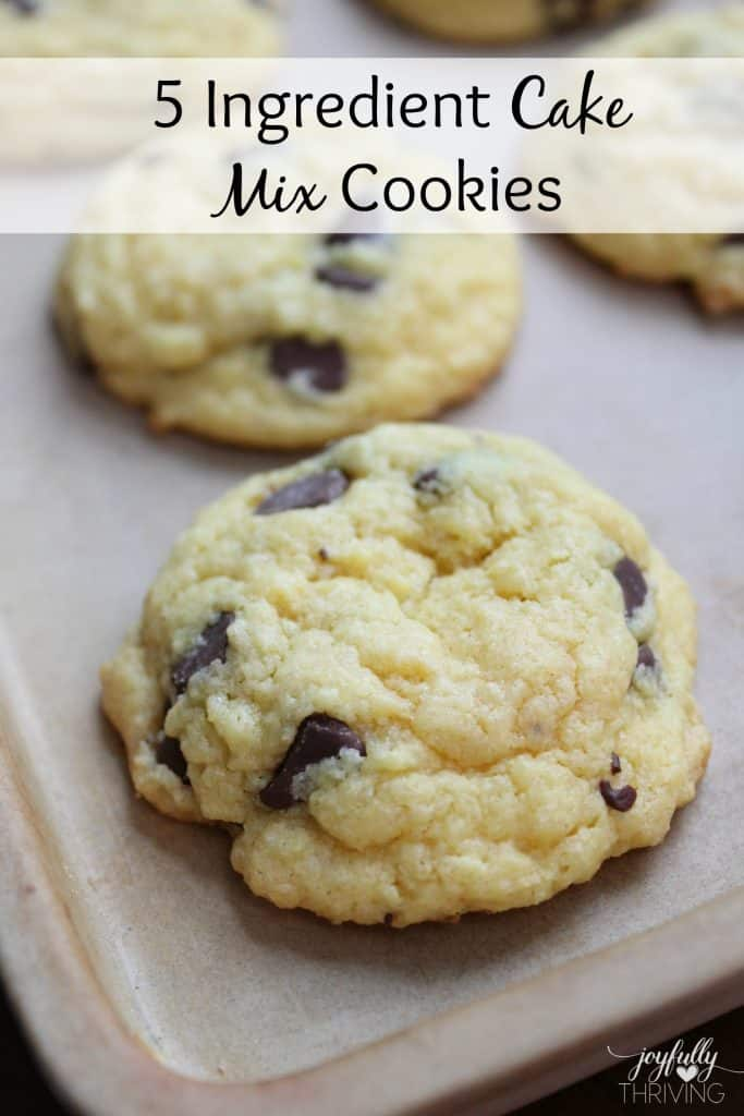 5 Ingredient Cake mix Cookies - Oh my goodness! These are my favorite chocolate chip cookies. So simple and so good!