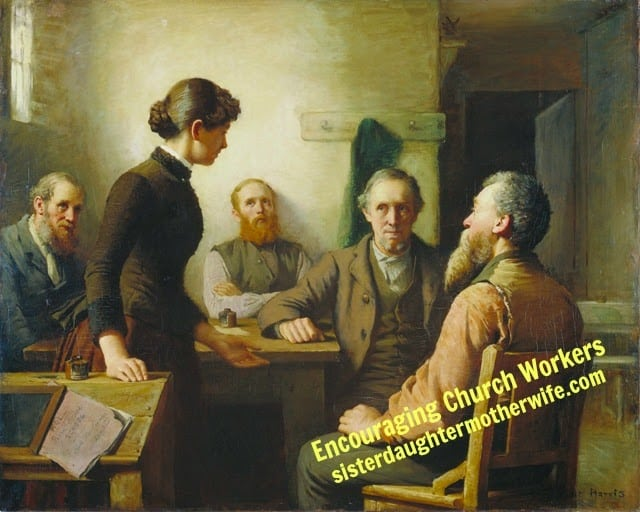 Encouragring church workers Robert_Harris_-_A_Meeting_of_the_School_Trustees