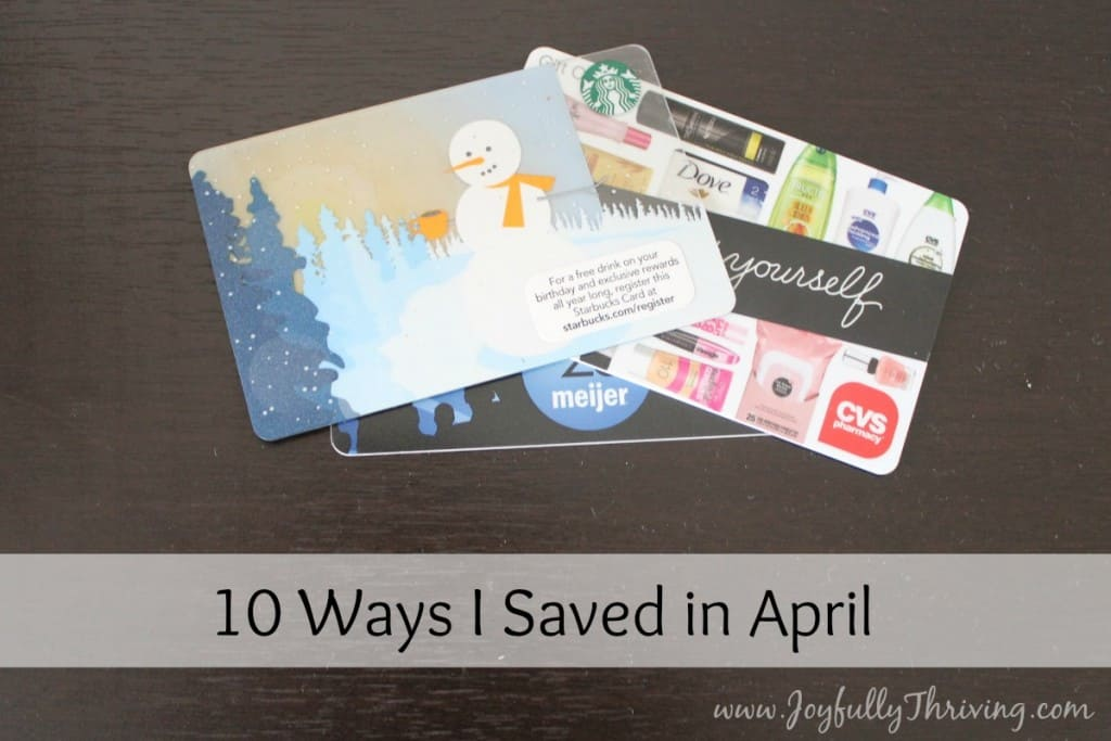 Here is a list of 10 ways I saved in April. How did you save this past month?