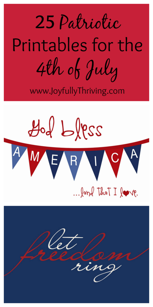 Here's a collection of 25 patriotic printables that are perfect for the 4th of July! These are some of the best ones found online - and they are all free!
