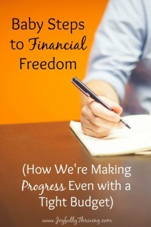 Baby Steps to Financial Freedom - Dave Ramsey has some great advice, and here's how one family is applying it and making progress - even on a tight budget!
