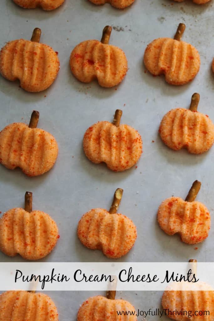 Pumpkin Cream Cheese Mints - A simple but festive fall treat! I love these mints. What a fun pumpkin idea!