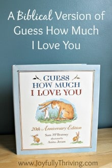 A Biblical Version of Guess How Much I Love You - A perfectly unique gift for new babies and children alike. Download a free printable to create a custom book of your own OR order a custom made book! What a great idea!