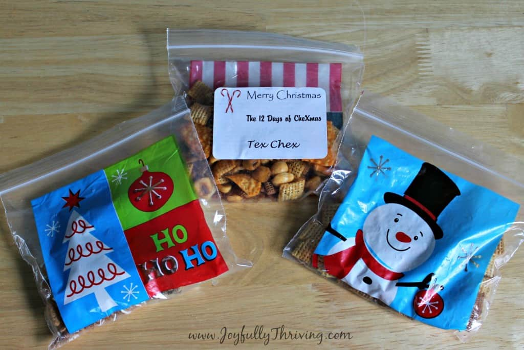 The 12 Days of ChexMas in colorful Christmas baggies