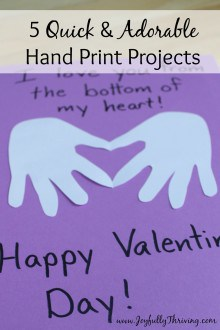 5 Quick and Adorable Hand Print Projects - SO simple and so cute! All of these can be done in a matter of minutes with little mess, too. Love it!