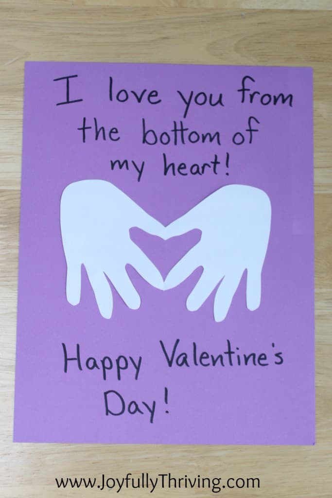 I love you from the bottom of my heart - Quick and adorable hand print project!