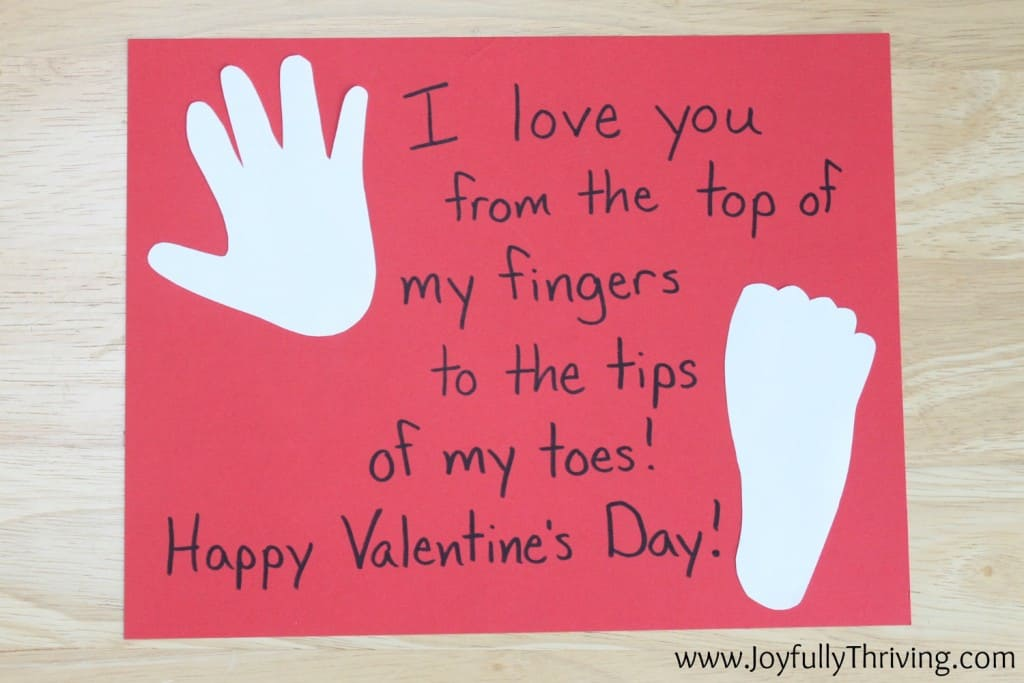 I love you from the top of my fingers to the bottom of my toes. Quick and easy hand print project.