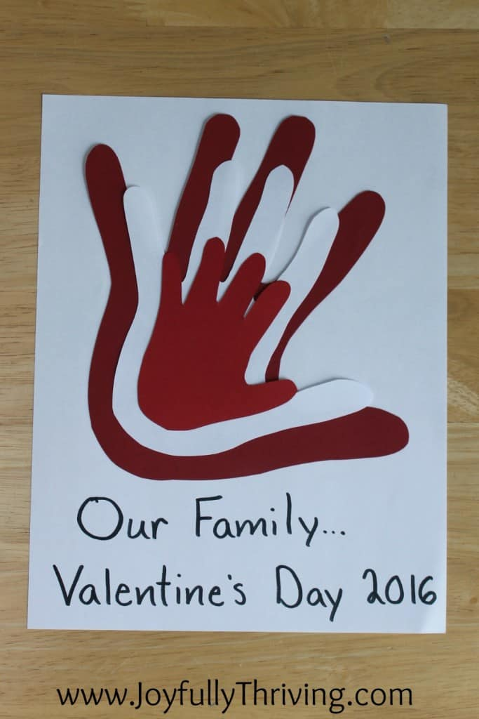 Our Family's Hand Prints - A quick idea for a Valentine's Project.
