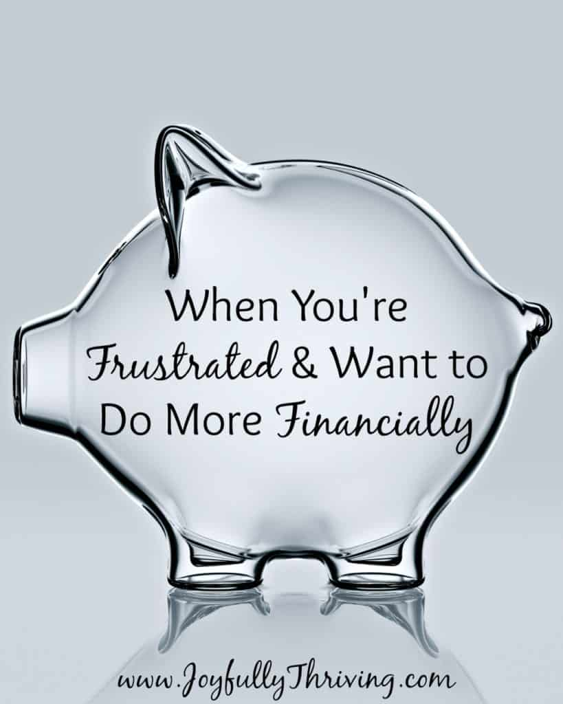 When you're frustrated and want to do more financially, remember this. I needed this reminder!