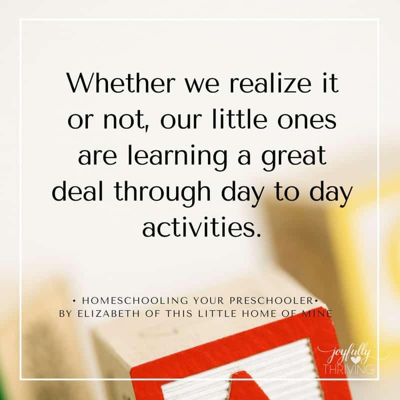 Homeschooling Your Preschooler Day to Day Activities