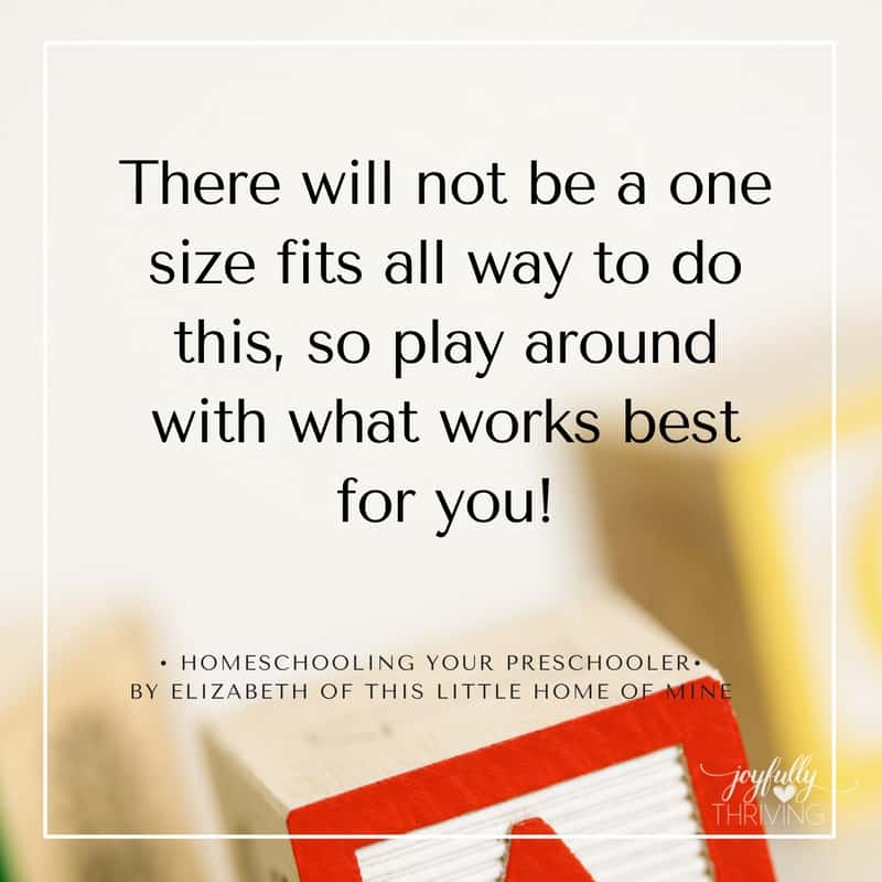 Homeschooling Your Preschooler Not One Size Fits All