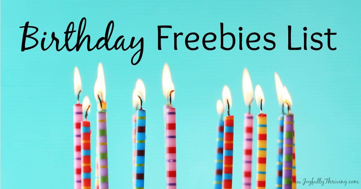 Birthday freebies list