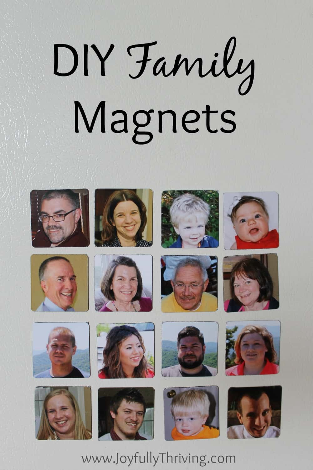 I absolutely LOVE this idea of making family magnets! What a great idea for preschoolers to help them learn family names, especially if they live far away!