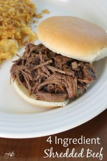 Shredded Beef Sandwich Recipe - Only 4 ingredients! Seriously, the best shredded beef sandwich I have ever eaten.