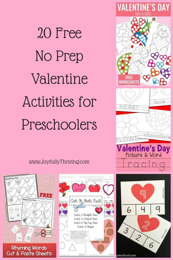 20 Free No Prep Valentine Activities for Preschoolers