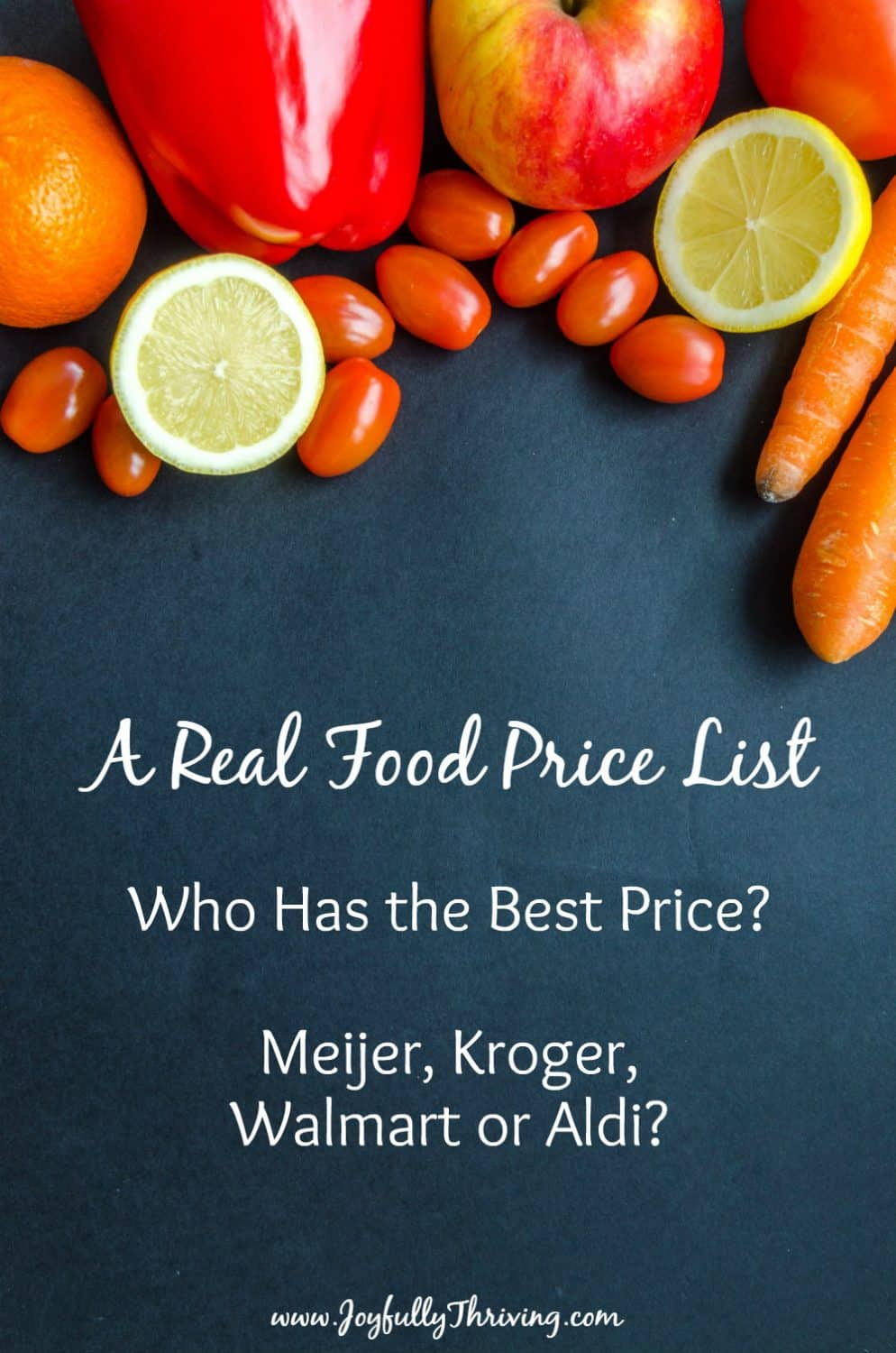 Finally! A real food price list for healthy foods! You can compare to see if Meijer or Kroger, Walmart or Aldi has the best price. Plus, it has stock up prices and a free printable price list! #realfood