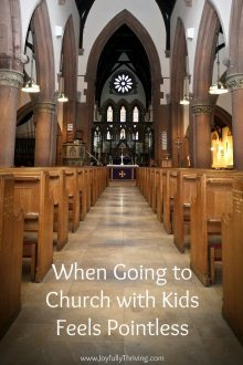Words of grace filled truth for every parent who struggles in the pew! It may be difficult and feel pointless at times but it is important. Here's what to remember when going to church with kids feels pointless. Written by a Lutheran mom who's right there with you!
